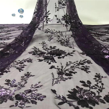 2019 High quality tulle lace fabric embroidery lace African French net lace fabric with sequins for wedding party dress xb82-470