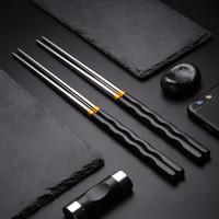 Juego de 5 uds. De palillos de acero inoxidable antideslizantes, vajilla reutilizable, palillo japonés para Sushi