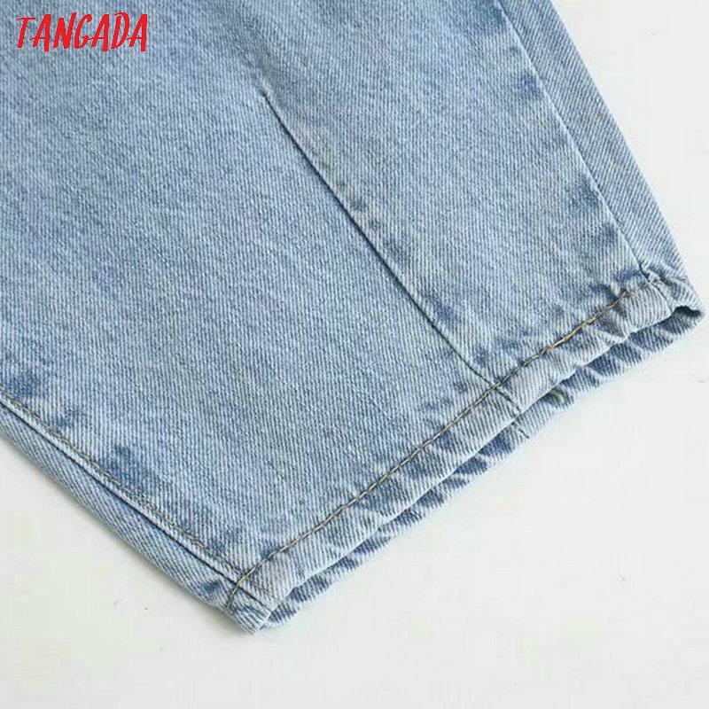 Tangada fashion women loose mom jeans long trousers pockets zipper loose streetwear female blue denim pants
