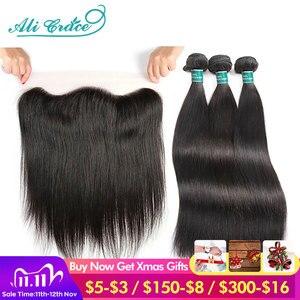 Image 1 - Ali graça feixes de cabelo em linha reta com frontal 13x4 médio marrom rendas brasileiro feixes cabelo humano com frontal frete grátis