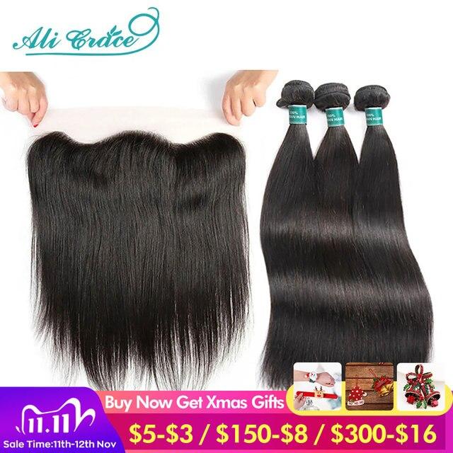 Ali graça feixes de cabelo em linha reta com frontal 13x4 médio marrom rendas brasileiro feixes cabelo humano com frontal frete grátis