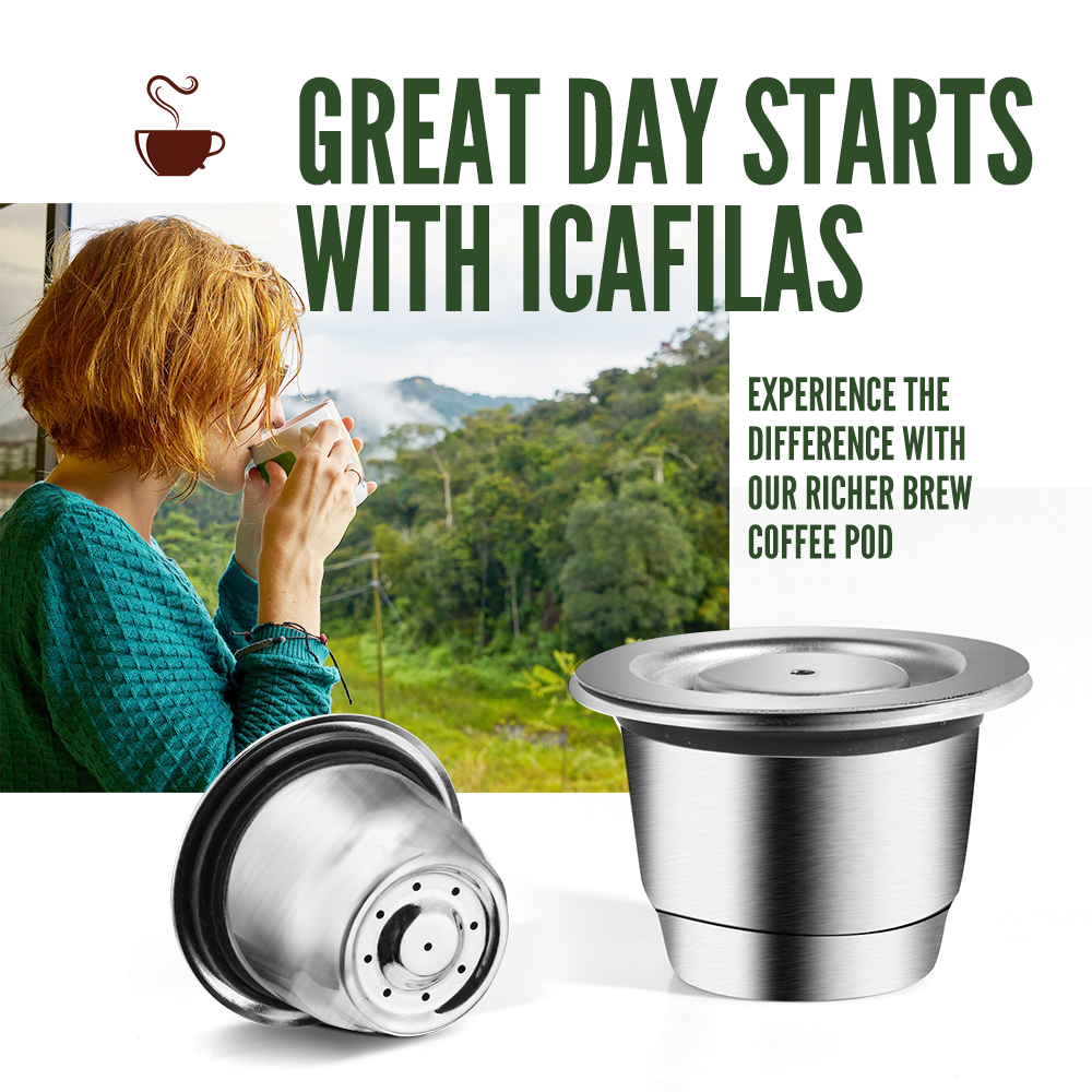ICafilas Stainless Steel Refillable Reusable For Nespresso Coffee Capsule Cafeteira Filter for Essenza Mini & Citi