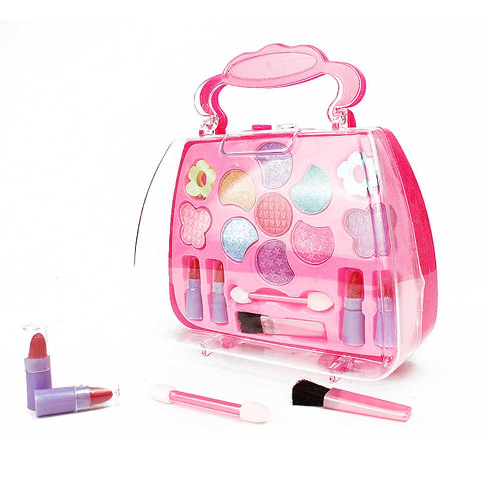 1 pçs menina fingir princesa caixa de maquiagem brinquedos para crianças make-up meninas viajando brinquedo cosmético terno para crianças presente de aniversário zxh