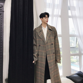 EWQ / spring 2020 Long Sleeve Plaid Turn-down Collar Bandage Loose Coat Man's Vintage Style Temperament Jacket FS160