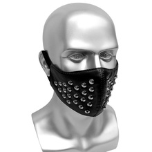 Mens Party Punk Mask With Rivet Anti-dust Black PU Leather Mask Men Women Hip Hop Gothic Masks Bar Stage Performance Masks new double steam punk mask steampunk mask gas masks daft punk mighty metal rivet respirator goggles vintage glasses land retro