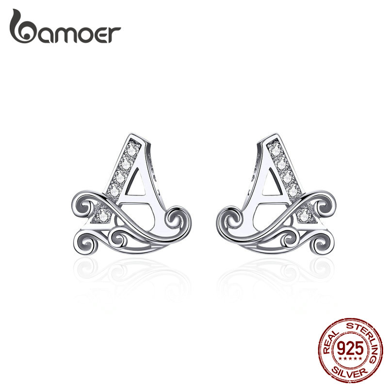 Bamoer Letter A Silver Stud Earrings For Women 925 Sterling Silver Alphabet Jewelry Studs Fine Jewelry Accessories 2019 SCE714