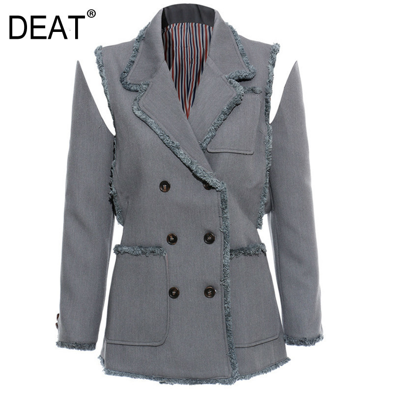 DEAT 2020 New Autumn Winter Turn Down Collar Long Sleeve Double Breasted Pockets Personality Jacket Women Coat Fashion JX643