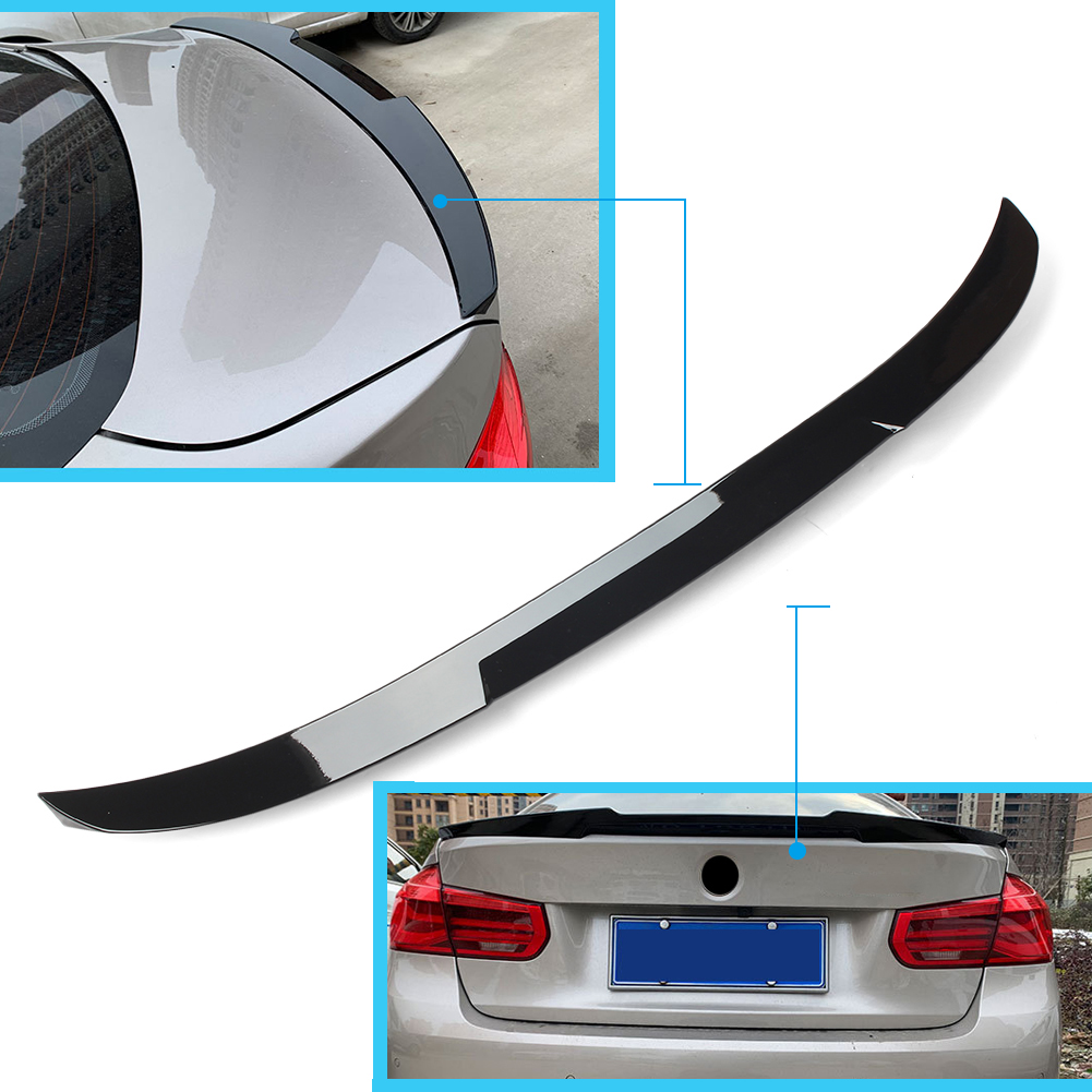 V Style Car Rear Lip Spoiler Trunk Wing For BMW F30 F80 <font><b>3</b></font> Series F35 2012 2013 2014 2015 <font><b>2016</b></font> 2017 2018 ABS Plastic Gloss Black image