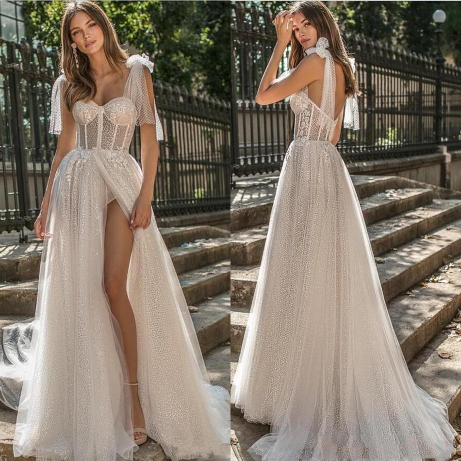 2020 Country Berta A Line Beach Wedding Dresses Spaghetti Lace Glitter Side Split Sweep Train Boho Wedding Dress Plus Size Grade