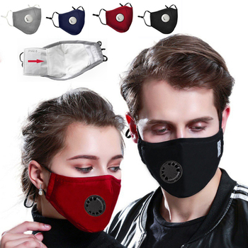 Washable PM2.5 Face Mask Anti-fog Filter Reusable With Breathing Valve Activated Respirator Mouth Mascarillas - discount item  50% OFF Workplace Safety Supplies