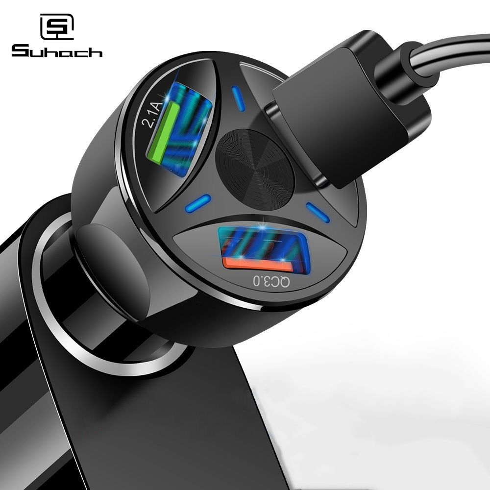 Suhach 3A Quick Charge 4.0 3.0 <font><b>USB</b></font> <font><b>Car</b></font> <font><b>Charger</b></font> for iPhone Samsung Xiaomi <font><b>Car</b></font> <font><b>Charger</b></font> Fast QC 3.0 QC 4.0 Mobile Phone <font><b>Charger</b></font> <font><b>USB</b></font> image