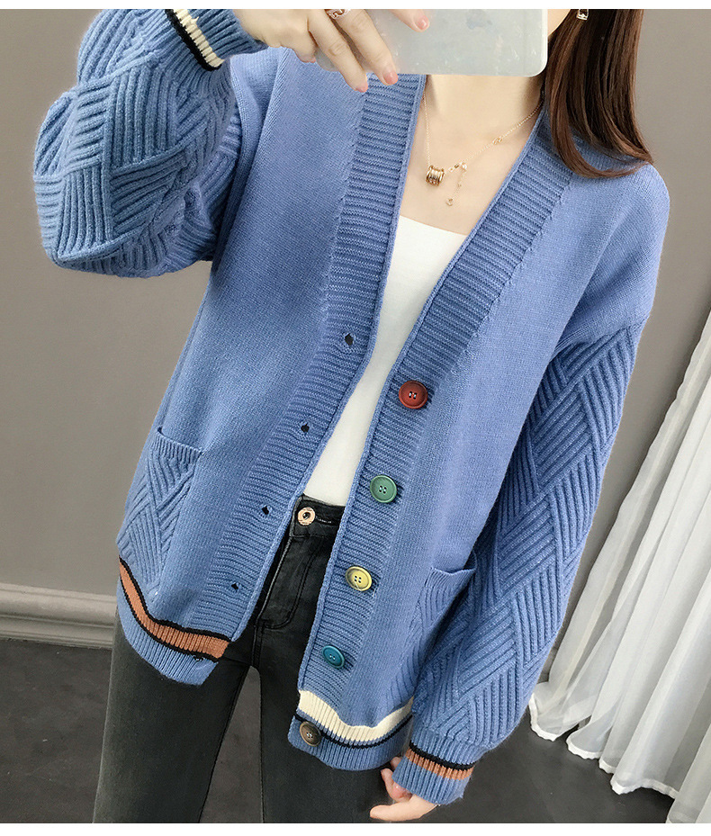 Women Autumn White Black Yellow Red Blue V-neck Pocket Buttons Cardigan Sweater Teenage Student Girls Knitted Slim Jacket Coat