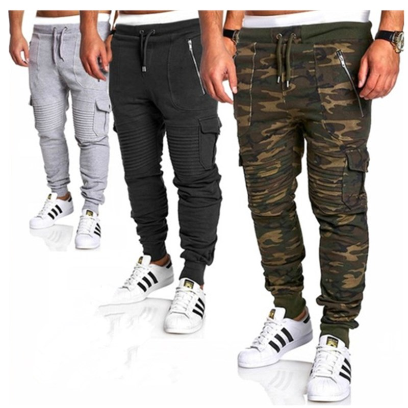 Men's Jogging Pocket Design Sweatpants New Cotton Camouflage Men's Fitness Multi-pocket Jogging Pants Fashion Training PANTS