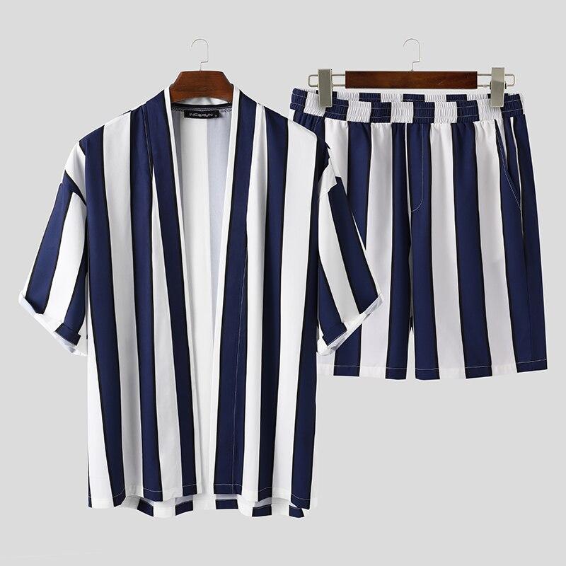 INCERUN Summer Men Striped Sets Streetwear Loose Open Stitch Short Sleeve Shirt Fashion Shorts Beach Breathable Casual Mens Sets