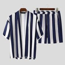 INCERUN letnie męskie paski zestawy Streetwear luźne otwarte ściegu koszulka z krótkim rękawkiem modne spodenki plażowe oddychające Casual męskie zestawy