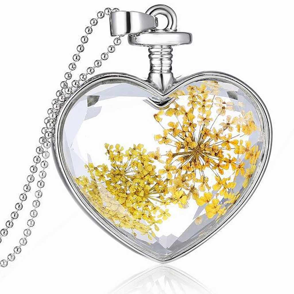 יבש פרח לב זכוכית בברכת בקבוק תליון שרשרת אמהות יום תכשיטי שרשרת שרשרת קולר תכשיטי бижутерия цепочка נשים