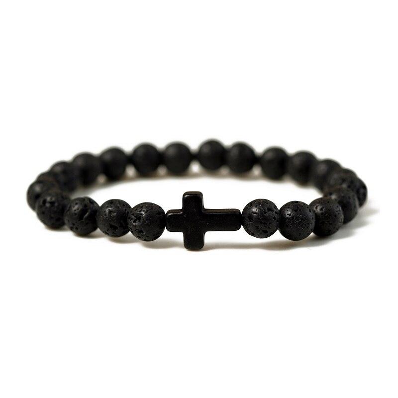 Charm Natural Stone Bracelet Cross Black Lava Matte Beaded Bracelets Handmade Men Women Prayer Fitness Chain Couple Jewelry Gift