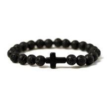 Bracelet en pierre naturelle pour hommes et femmes, breloque, croix, lave noire, perles mates, fait à la main, prière, Fitness, chaîne, bijoux de Couple, cadeau