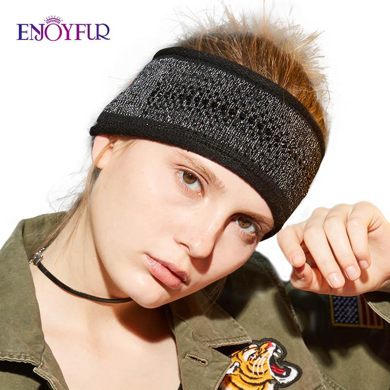 ENJOYFUR Fashion Rhinestones Winter Headband Female Cashmere Knitted Hair Accessories For Women Wide Warm Ladies Headwear