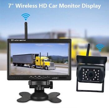 12V-24V 7in Car Rear View Kit Backup Camera Power Wireless LCD Monitor LED CCD Parking Reversing Camera for Bus Truck Motorhome