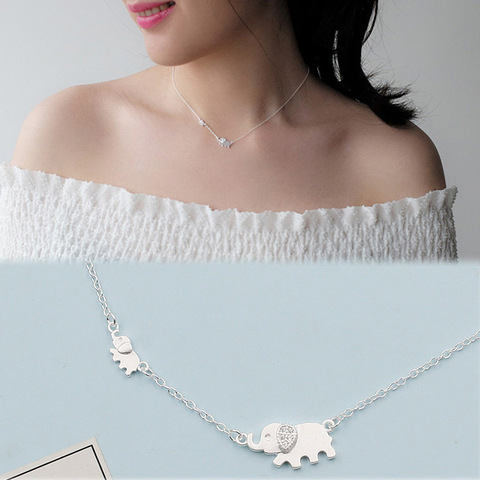 Купить серебряный цвет милый слон кулон ожерелье циркон животное для