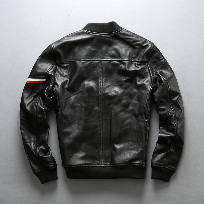 AVIREXFLY 2020 New Men Black Genuine Leather Jacket Plus Size XXXXL 100% Real Sheepskin Casual Riding Biker Jackts
