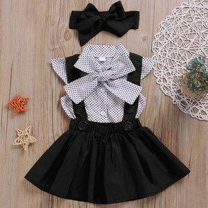 Didi/Детские комплекты одежды для маленьких девочек летняя рубашка в горошек с рукавами-крылышками + платья на бретелях + повязка на голову, де...