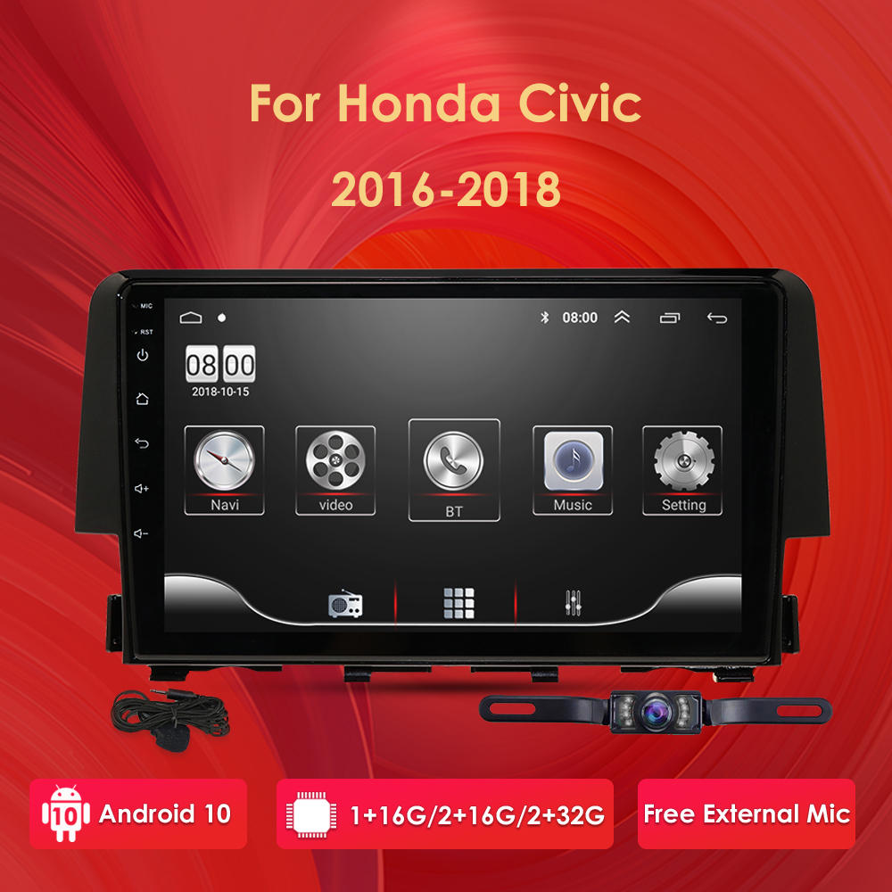 Ossuret 9'' <font><b>Android</b></font> 10 Car <font><b>radio</b></font> GPS Navigation for <font><b>Honda</b></font> Civic 2016-2018 Multimedia DVR SWC FM CAM-IN BT USB DAB DTV OBD PC 4G image