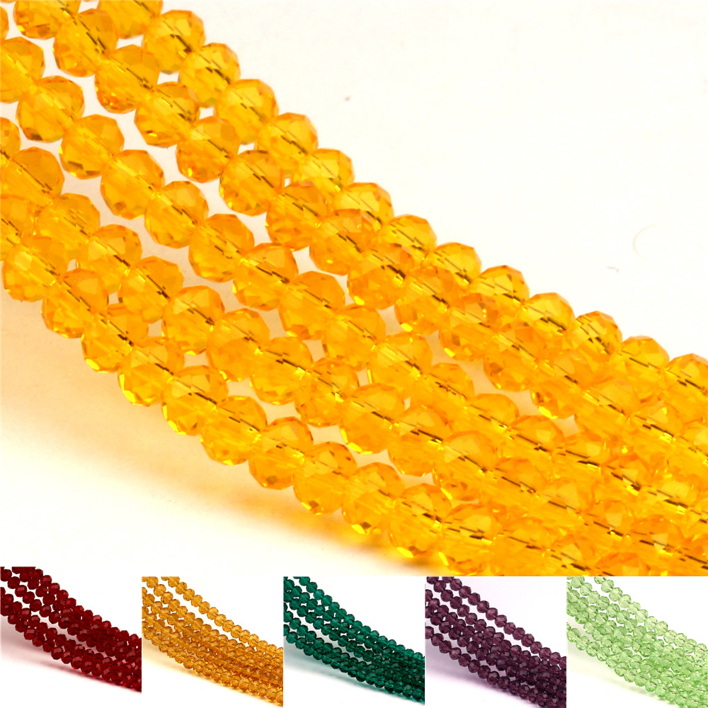 140PCS <font><b>3x4mm</b></font> Czech <font><b>crystal</b></font> glass beads for making multi-faceted solid color DiyN women's bracelet necklace making wholesale image
