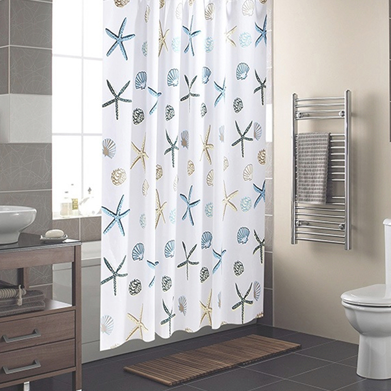 Shower Curtain Starfish Partition Waterproof Mildew Curtain For Bathroom Shower Room Bath Accessories