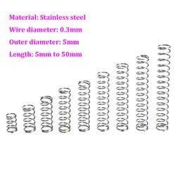 Компрессионная пружина из нержавеющей стали, Диаметр 0,3 мм, нажимная пружина OD 5 мм, длина 5 мм-50 мм