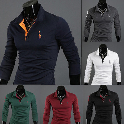 Mens   Polo   Shirt Long sleeves Deer Embroidery Printing Men Slim Casual Cozy Tees M-3XL Fashion Top Clothing