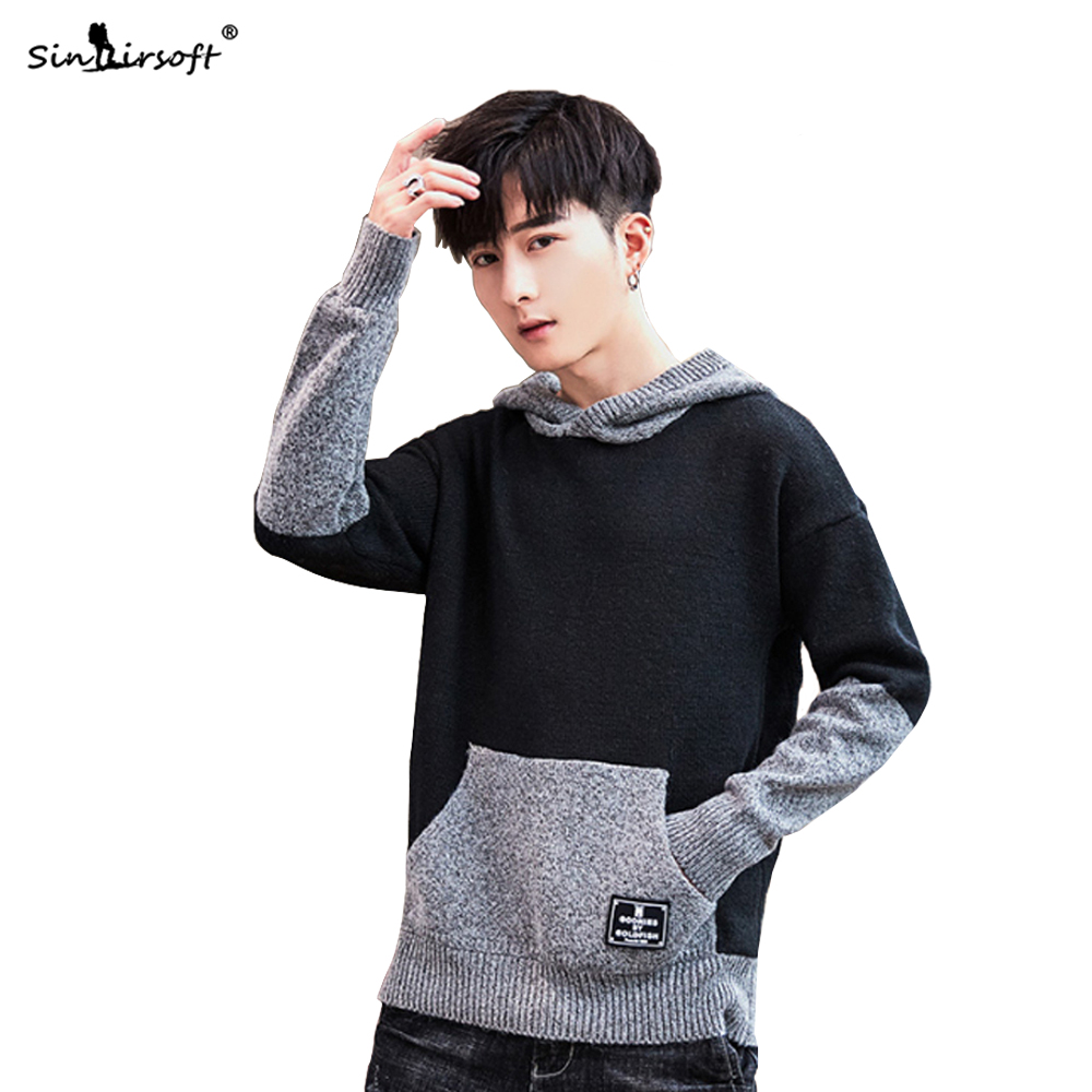 New Design Casual Sweater Men's Long Sleeve Pullovers Warm Hooded Patchwork 2019 Autumn Winter Fashion Streetwear Top Clothing