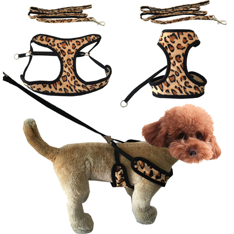 Dog Chest And Back Leopord Pattern Pet's Chest-back Nursing Pet Dog Traction Set Pet Traction Rope Dog Supplies