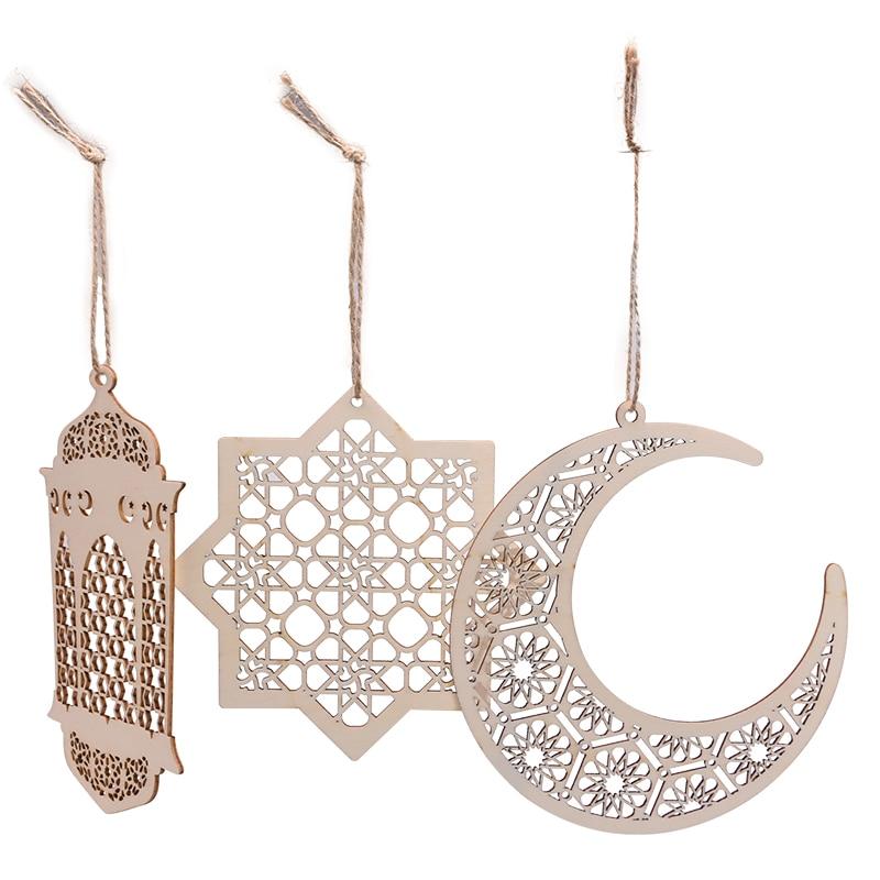 Wood Craft Ramadan Eid Mubarak Decorations for Home Moon Wooden Ornament Hanging Pendant Islam Muslim Party Supplies