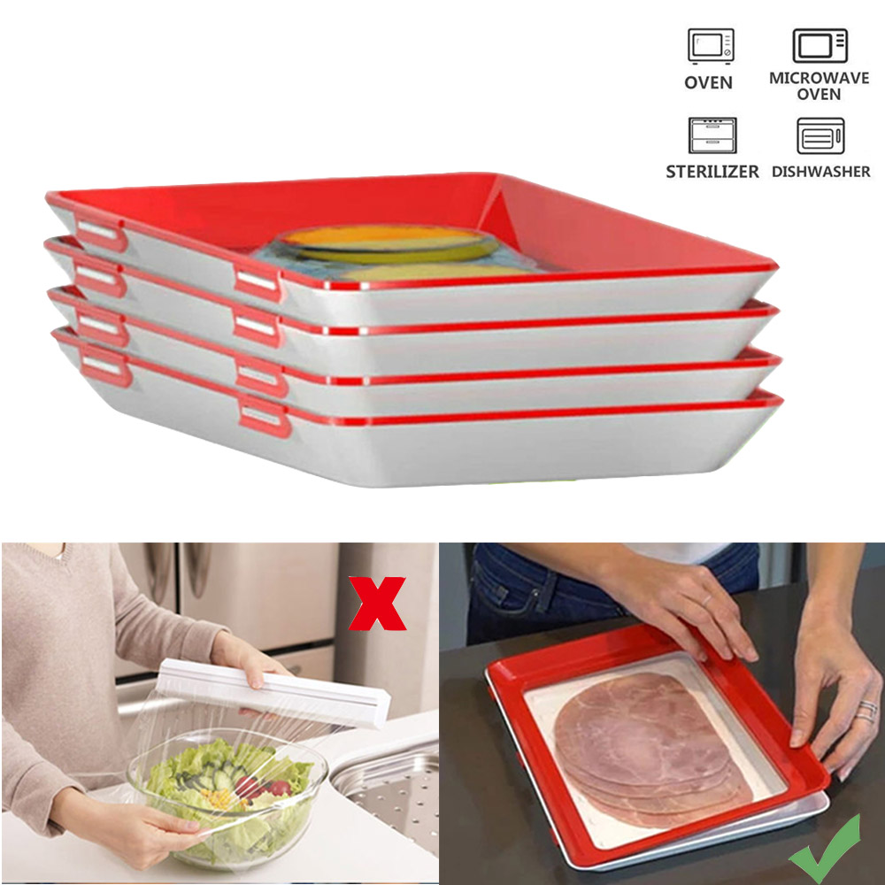 3pcs Food Preservation Tray Refrigerator Clever Tray Creative Kitchen Items Storage Container Food Fresh Storage Microwave Cover