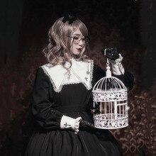 Готическое платье для женщин Лолита Черный Крест Emboridery темно-синий воротник японский каваи девочек карнавальные вечерние туфли принцесса стиль