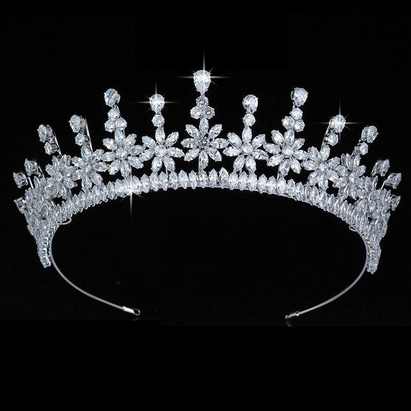 Тиары и короны HADIYANA элегантные женские свадебные аксессуары для волос подарок на вечеринку ювелирные изделия для волос циркон BC5605 Corona Princesa