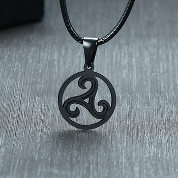 Triskelion Celtic Symbol Pendant Necklace Black and Silver  Mens Necklaces