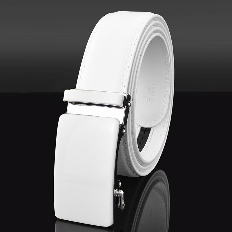 New Fashionable White Men Belts Automatic Alloy Buckle Male Belt Genuine Cowskin Leather Golf Belt Plus Size 130cm