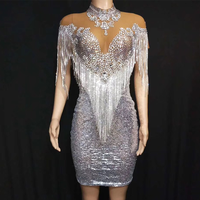 Festival Outfit Silver Rhinestones Fringe Tassels Mesh Dress Prom Evening Party Singer Birthday Celebrate Crystal Dresses DT1780