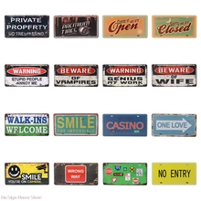 Art Poster Wall-Stickers Sign Plaque Metal Tin No Pub No-Entry Smile-Sale Shabby