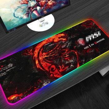 Podkładka pod mysz do gier oświetlenie LED RGB 900x400mm XL duży wzór smoka klawiatura podkładka pod mysz z naturalnej gumy podkład na biurko Gamer na laptopa