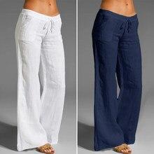 2021 Celmia Women Elastic Waist Wide Leg Pants Casual Palazzo Vintage Linen Pantalon Cotton Plus Size Female Long Trousers