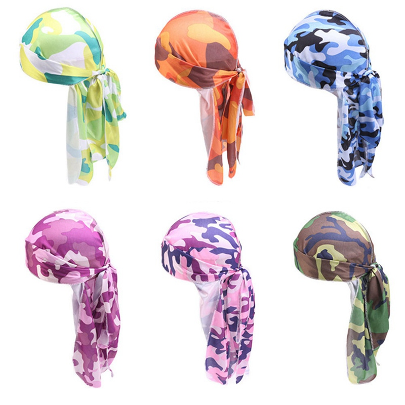 Fashion Camo <font><b>Men's</b></font> Silky <font><b>Durags</b></font> Turban Print <font><b>Men</b></font> <font><b>Silk</b></font> Durag Headwear Bandans Headband Hair Accessories Pirate Hat Waves Rags image