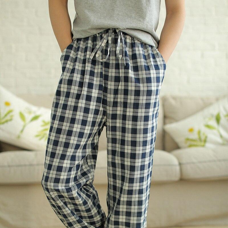 Meju Casual Men Loose Pajama Pants Tatting Pure Cotton Plaid Home Pants