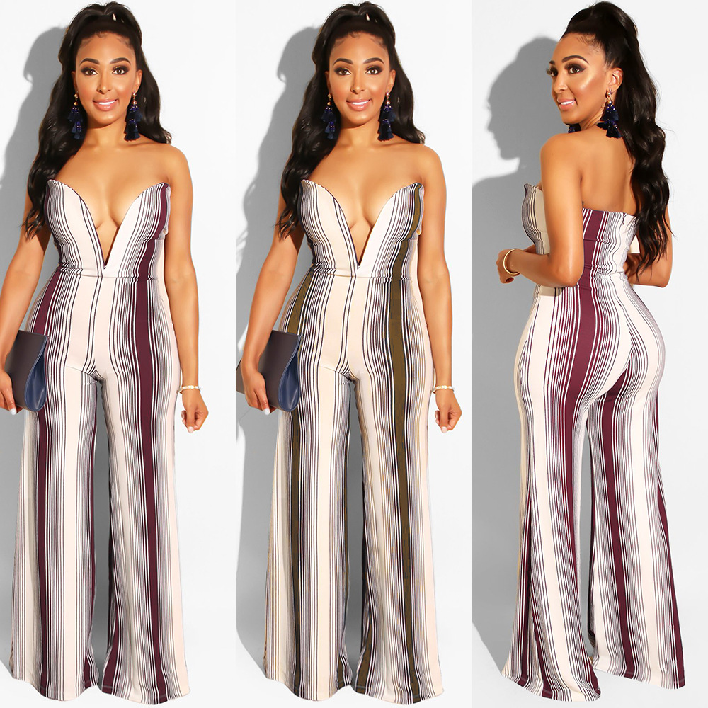Latest fashion striped printed strapless wide leg women   jumpsuits