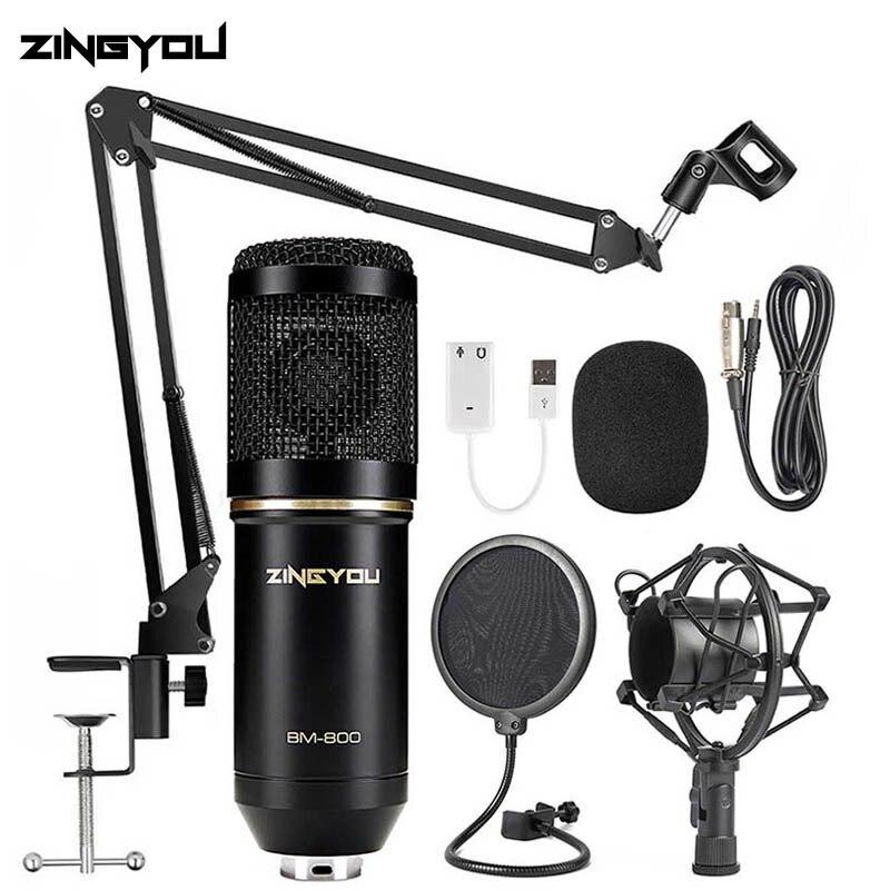 ZINGYOU BM 800 Condensador Cardióide Microfone Karaoke Microfone Com Fio Profissional Jogo de Computador Kit de Microfone para Gravação em Estúdio Broadcast chat disponível Alta qualidade pacote profesional