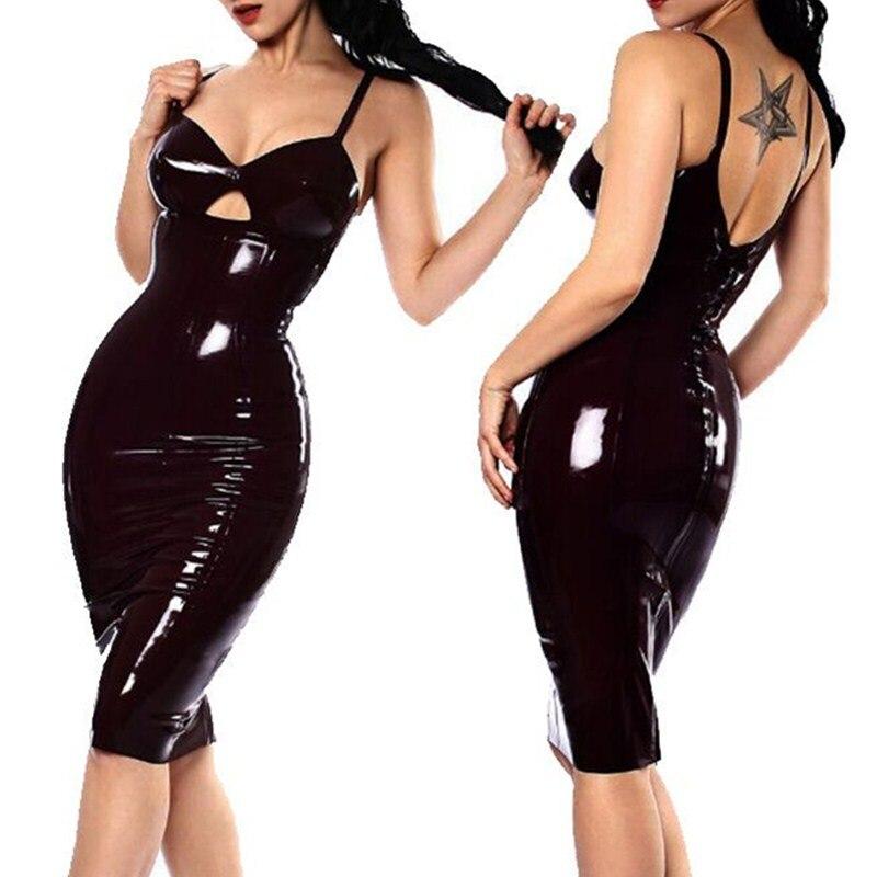 Women Shiny Vinyl PVC Wet Look Dress Strap Mini Dress With Zipper Party Clubwear