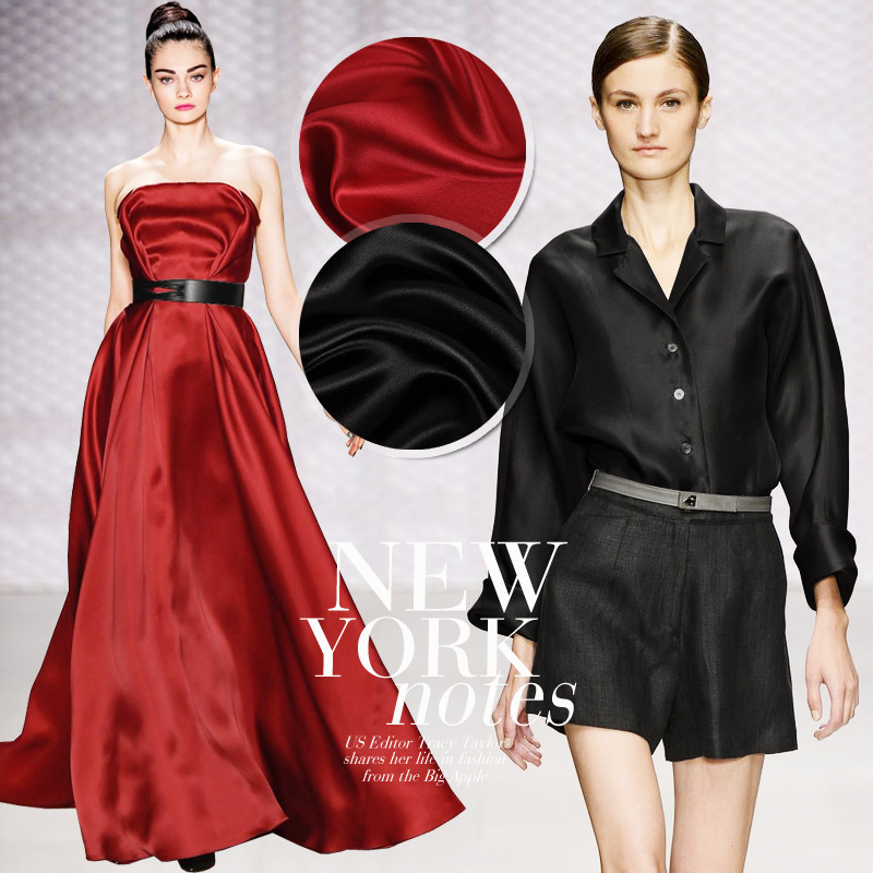 Silk Fabrics For Dresses Blouse Scarves Clothing Meter 100% Pure Silk Satin Charmeuse 16mill Red Black High-end Free Ship